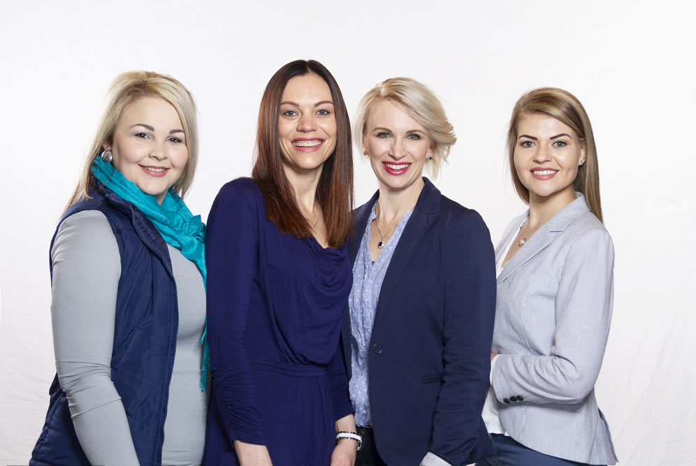 The team: TellaStoltz(Reception), Dr Phoebe Nel, Dr Christine Steyn, ChandréVosloo(Somatologist)